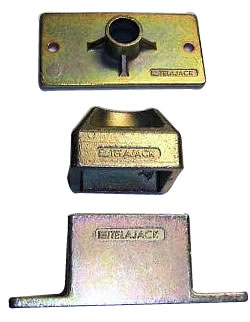 Telajack jack post components are cast steel and feature a rust resistant zinc dichromate finish